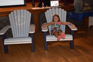 Enjoying the Adirondack chairs made by Patricia Sehorn