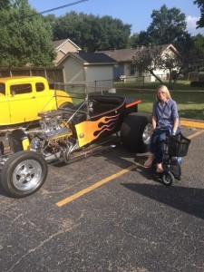 Christi, one of our pALS posing by an awesome hot rod